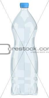 Small plastic water bottle isolated on white
