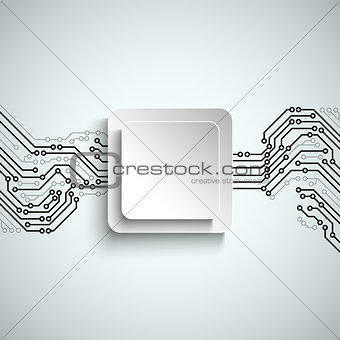 Abstract technical printed circuit board with white square sign template