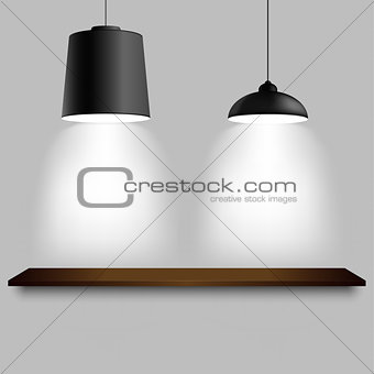 Black ceiling two different lamps with shelf template