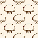 Pattern with champignon mushrooms