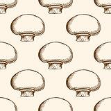 Pattern with champignon mushrooms
