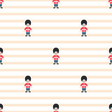 Queen guardsman cute seamless striped vector pattern.