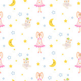 Pajamas pattern with tilda bunny, bear plush toy seamless vector.