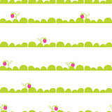 Strawberry garden bed seamless vector pattern.