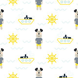 Pajamas boy pattern with tilda sailor dog seamless vector.