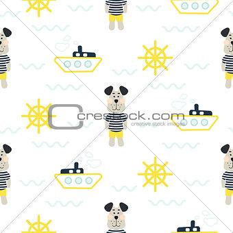 Pajamas boy pattern with tilda sailor dog seamless vector.