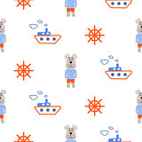 Marine boy pattern with sailor dog seamless vector.