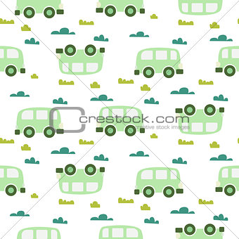 Car cute baby vector green scandinavian seamless pattern.