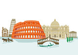 Landmarks in Italy, illustration