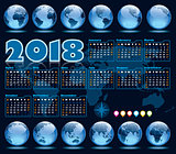 Calendar 2018 and Earth globes