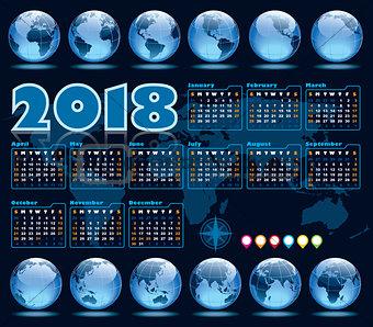 Calendar 2018 and Earth globes