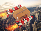 Fast delivery of package by turbo rocket. 3D Rendering