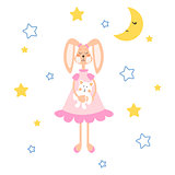Pajamas illustration with tilda bunny, bear plush toy vector for apparel print.