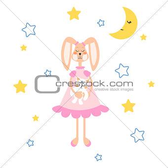Pajamas illustration with tilda bunny, bear plush toy vector for apparel print.