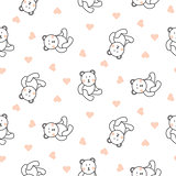 Teddy bear plush seamless vector pattern.