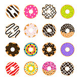 Donut vector set isolated on white. Doughnut glazed collection.