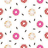 Donut pink glazed seamless vector pattern.