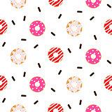 Donut pink glazed seamless vector pattern.