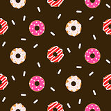 Donut pink glazed seamless chocolate vector pattern.