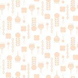 Scandinavian folk pale pink floral art pattern seamless vector.