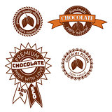 Set of vintage vector badge, label, logo template designs with cocoa beans for handmade chocolate shop.