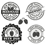 Vintage brewery logo, emblems and badges vector set. Collection of vintage brewing company labels.