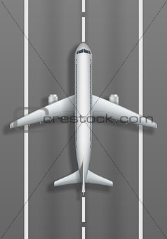 Airstrip with white airplane. Plane mockup top view. Travel agency advertisement poster design. Vector illustration