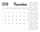 Simple calendar planner for 2018 year. Vector design November template. Set of 12 months. Week starts sunday. Calendar planning week.