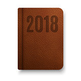 Realistic brown notebook with black elastic band. Top view diary template. Vector notepad mockup. Closed diary for 2018 year.