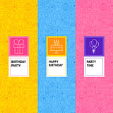Line Birthday Patterns Set