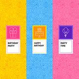 Line Birthday Patterns Set