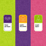 Line Halloween Patterns Set