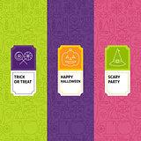 Line Halloween Patterns Set