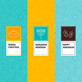 Line Happy Hanukkah Patterns Set