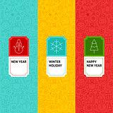 Line New Year Patterns Set