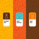 Line Oktoberfest Patterns Set