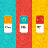 Line Rosh Hashanah Patterns Set