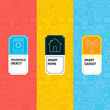 Line Smart Home Patterns Set