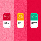 Line Valentine Patterns Set