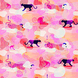 Pink eclectic rainforest wild animals and plants camo seamless pattern.