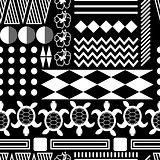 Black and white hawaiian culture ornament seamless vector pattern.