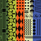 Multicolored striped aloha ornament seamless vector pattern.