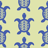 Blue openwork turtle seamless vector green pattern.