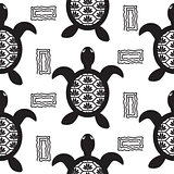 Turtle black stencil seamless vector pattern.