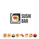 Sushi and roll vector logo template. Japanese oriental kitchen delicacy logotype. Minimal menu design, black border.