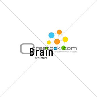 Brain storming business vector isolated logo template. Colorful creative mind logotype connected points. Dots simple logotype.