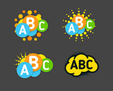 Creative children colorful brain with abc signs and orange sun. Vector isolated logo.