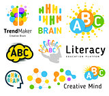 Creative brain. Genius school. Human development. Skill up. Linear vector logo set.