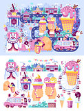 Set vector illustration business selling different kinds ice cream sale food with machine, meal on wheels clown amusement park sweets vanilla chocolate fruit filling cafe near road in flat style