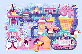 Vector illustration business selling different kinds ice cream sale of food with machine, meal on wheels clown amusement park sweets vanilla chocolate fruit filling cafe near road in flat style